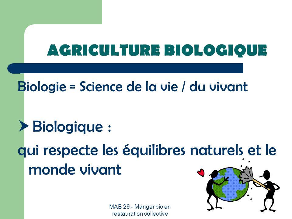 MAB 29 - Manger bio en restauration collective LAGRICULTURE BIOLOGIQUE : un mode de production qui respecte lenvironnement Lagriculture biologique constitue en France un des 4 signes officiels didentification de la qualité et de lorigine, aux côtés de lAppellation dOrigine Contrôlée (AOC), du Label Rouge (LR) et de la Certification de Conformité Produit (CCP)).