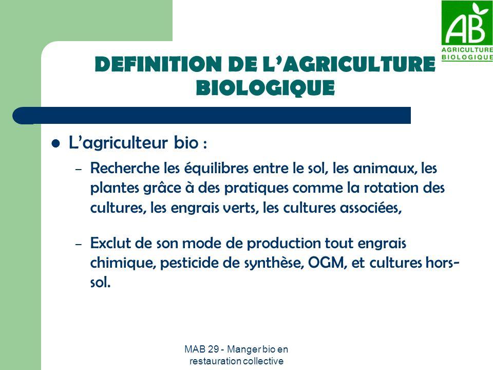 MAB 29 - Manger bio en restauration collective DEFINITION DE LAGRICULTURE BIOLOGIQUE Lagriculteur bio : – Recherche les équilibres entre le sol, les a