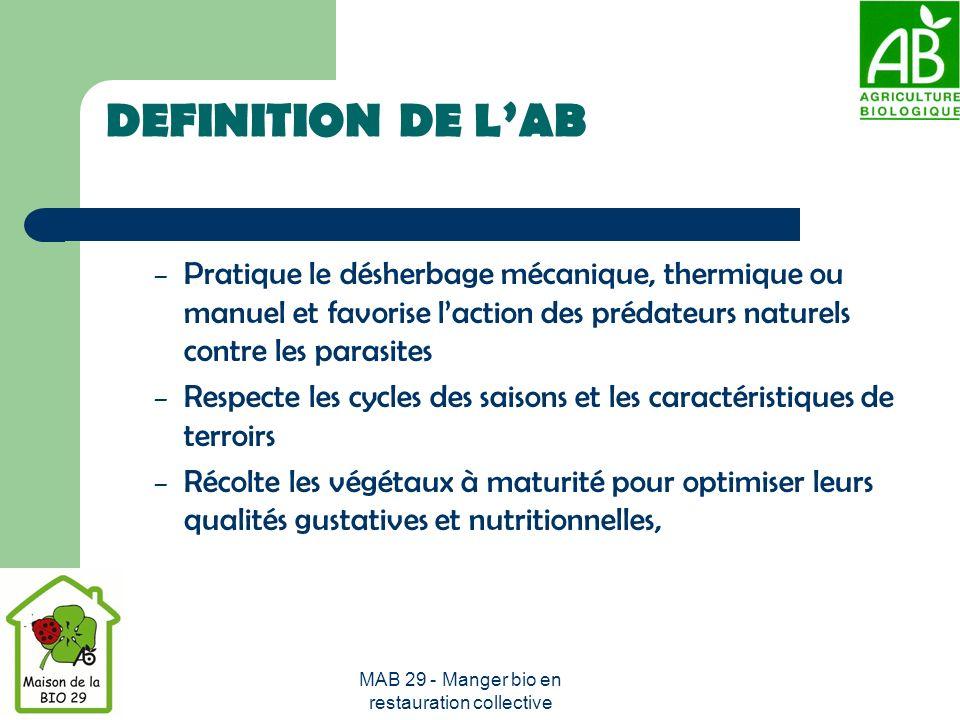 MAB 29 - Manger bio en restauration collective DEFINITION DE LAB – Élève les animaux en respectant leurs besoins physiologiques en pratiquant ce quon appelle la « liaison au sol » (production dun certain pourcentage daliments sur la ferme).