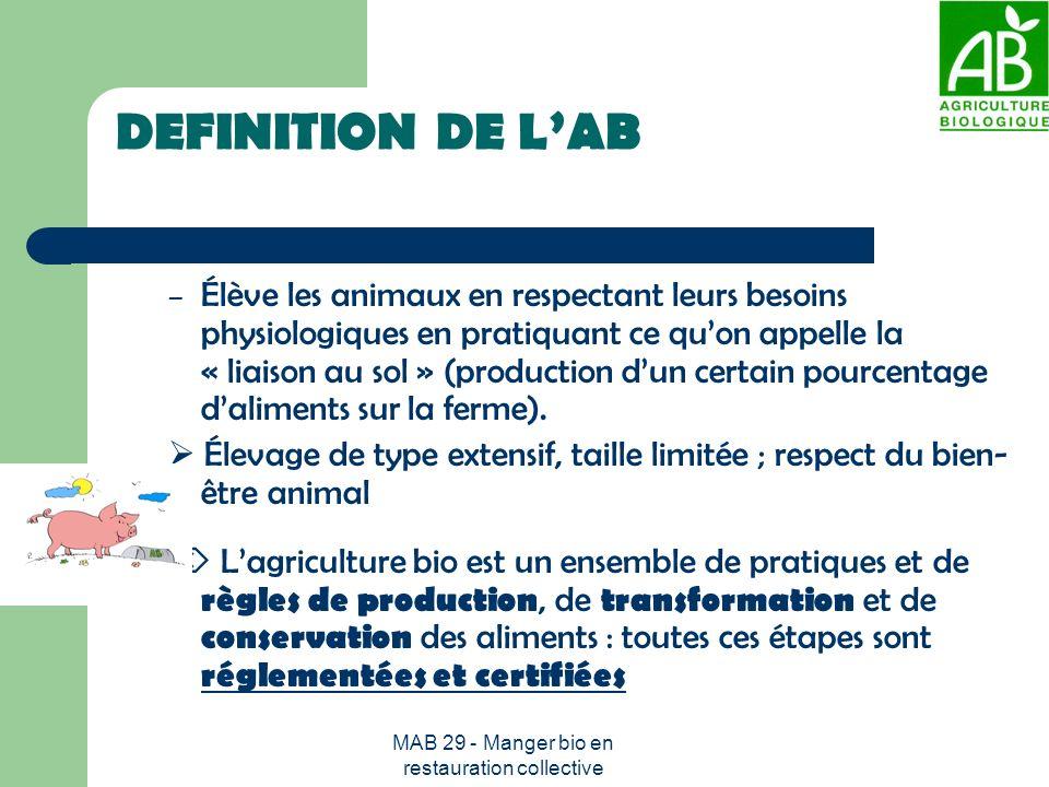 MAB 29 - Manger bio en restauration collective EN RESUME un mode de production exempt de tout produit chimique de synthèse Maintien de la fertilité des sols par des méthodes écologiques Interdiction des OGM Certification par un organisme agréé par lEtat effectuant des contrôles systématiques annuels et inopinés.