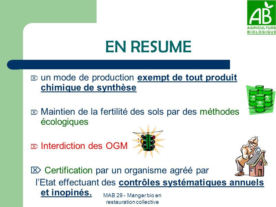 MAB 29 - Manger bio en restauration collective EN RESUME un mode de production exempt de tout produit chimique de synthèse Maintien de la fertilité de