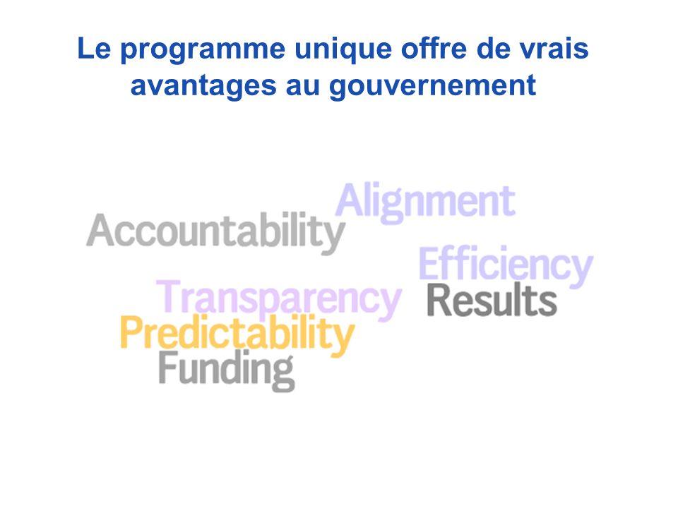 Le programme unique offre de vrais avantages au gouvernement