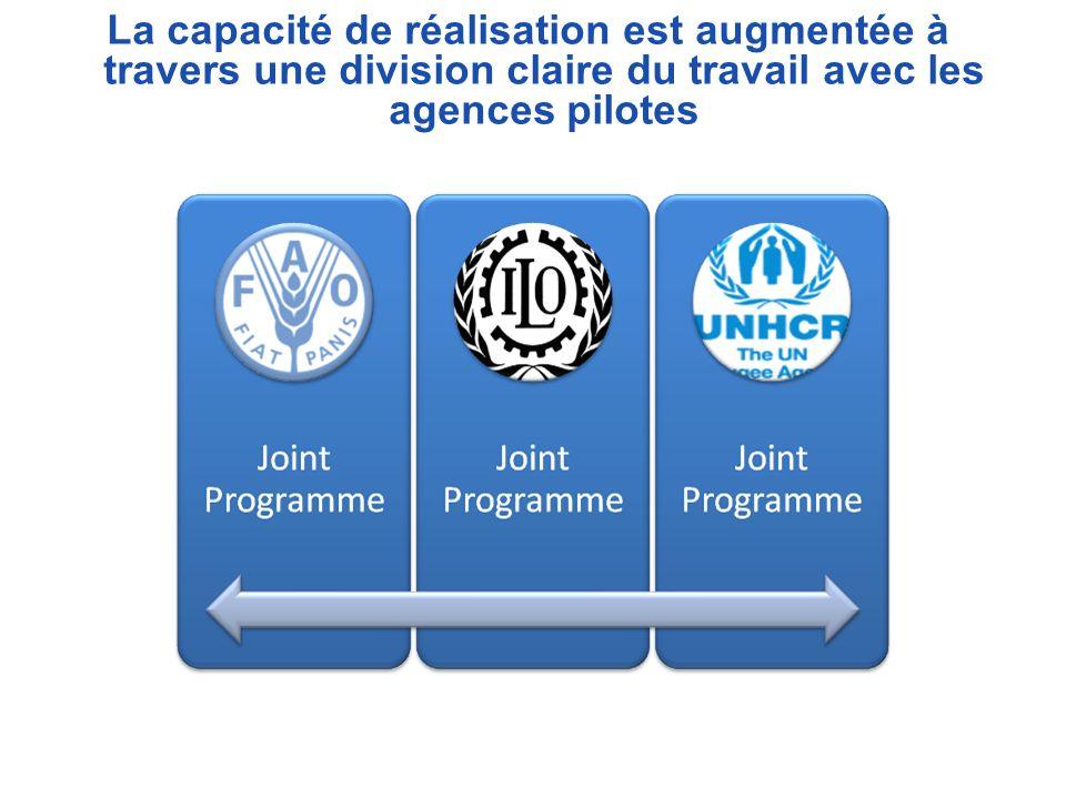La capacité de réalisation est augmentée à travers une division claire du travail avec les agences pilotes