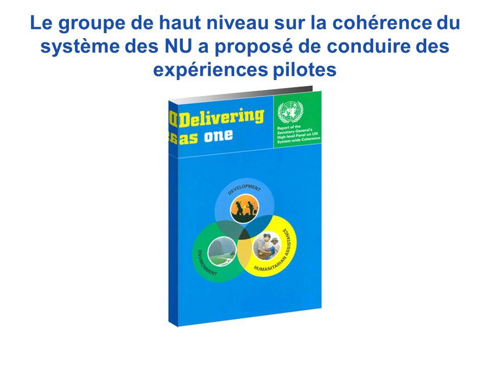 Le groupe de haut niveau sur la cohérence du système des NU a proposé de conduire des expériences pilotes