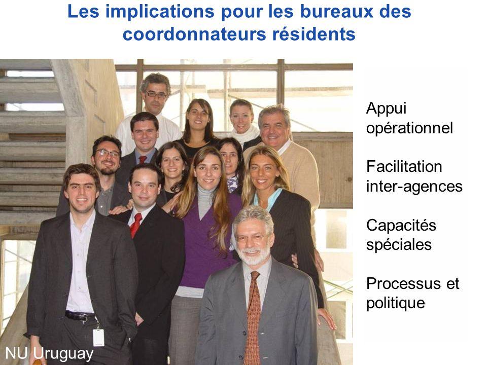 Les implications pour les bureaux des coordonnateurs résidents Appui opérationnel Facilitation inter-agences Capacités spéciales Processus et politique NU Uruguay