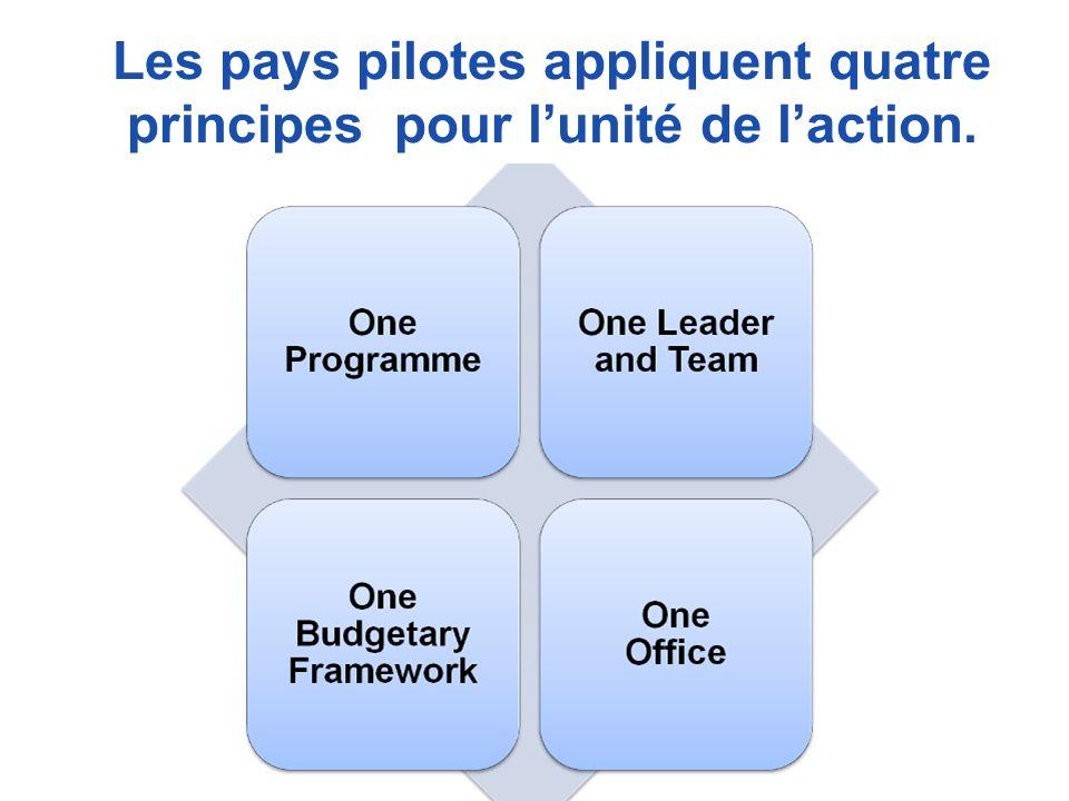 Les pays pilotes appliquent quatre principes pour lunité de laction.