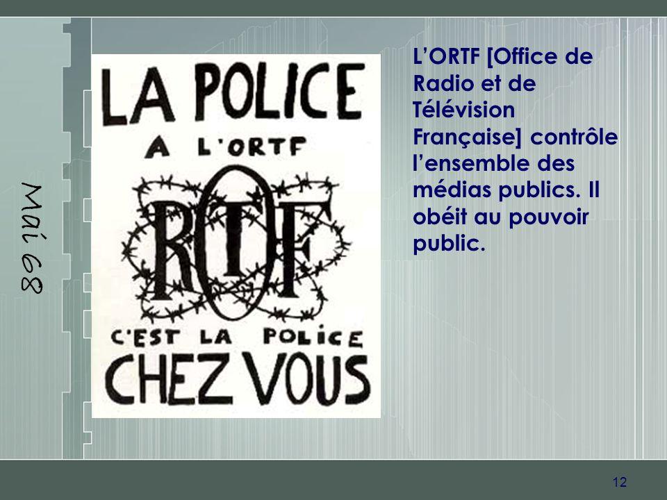 12 Mai 68 LORTF [Office de Radio et de Télévision Française] contrôle lensemble des médias publics. Il obéit au pouvoir public.