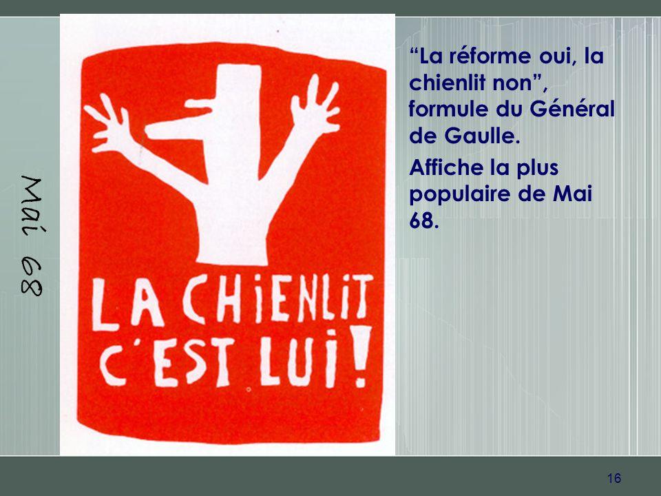 16 Mai 68 La réforme oui, la chienlit non, formule du Général de Gaulle. Affiche la plus populaire de Mai 68.