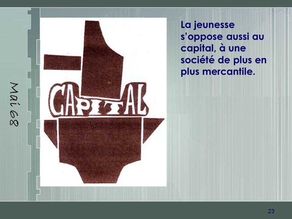 23 Mai 68 La jeunesse soppose aussi au capital, à une société de plus en plus mercantile.