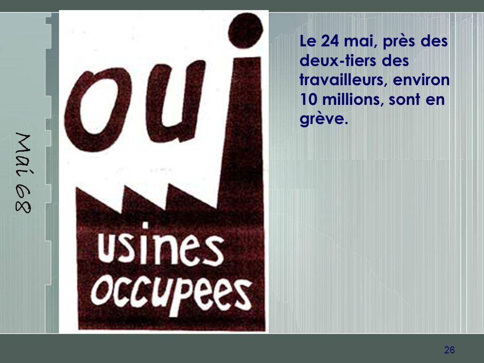 26 Mai 68 Le 24 mai, près des deux-tiers des travailleurs, environ 10 millions, sont en grève.