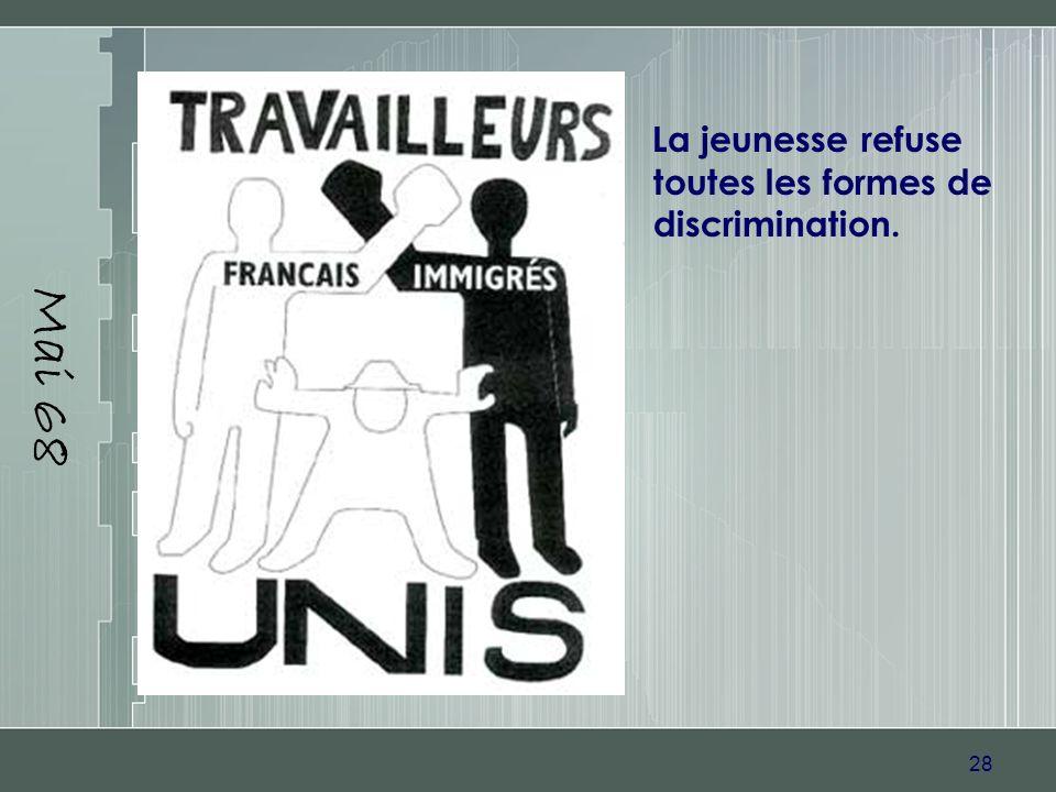 28 Mai 68 La jeunesse refuse toutes les formes de discrimination.