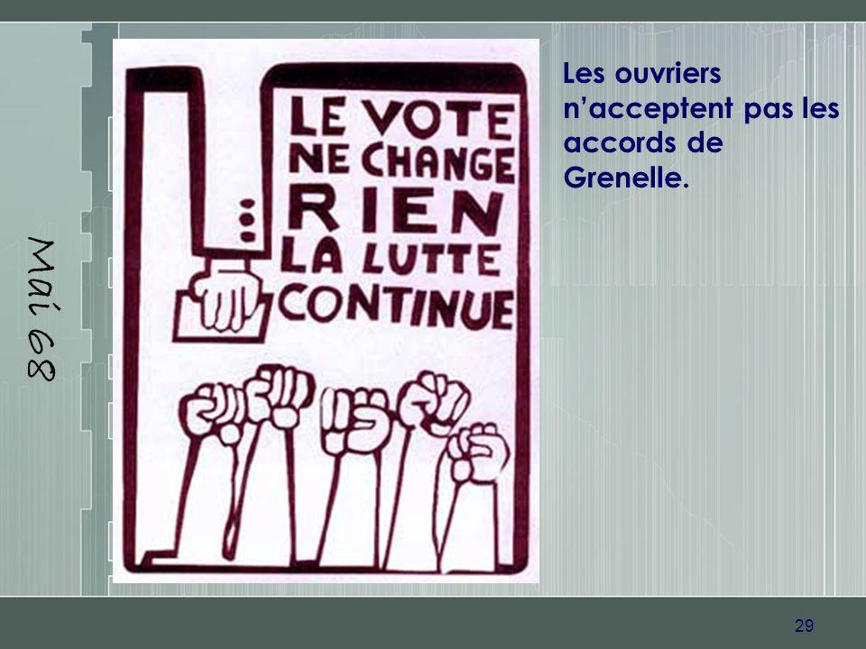 29 Mai 68 Les ouvriers nacceptent pas les accords de Grenelle.