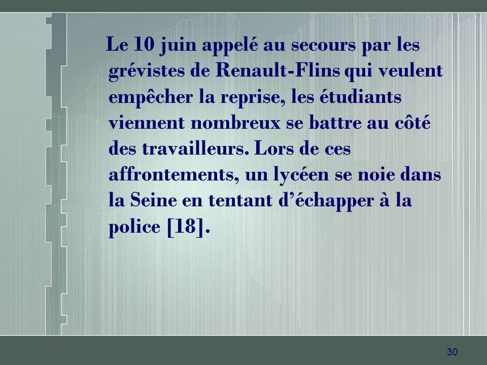 30 Le 10 juin appelé au secours par les grévistes de Renault-Flins qui veulent empêcher la reprise, les étudiants viennent nombreux se battre au côté