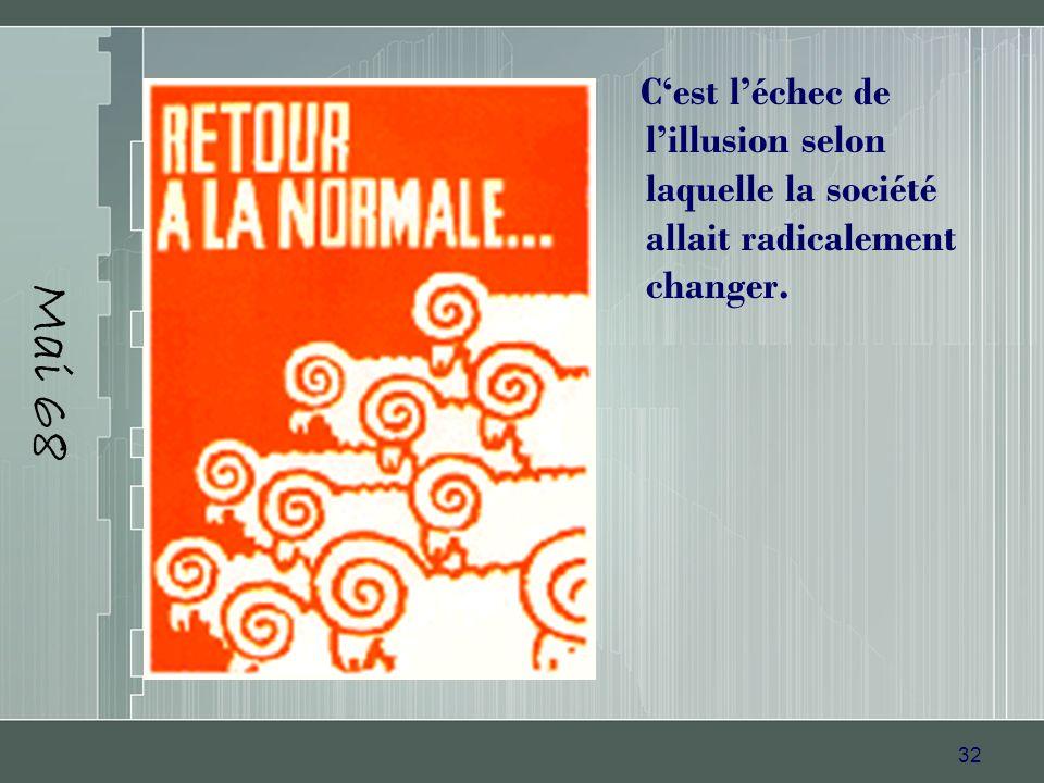 32 Mai 68 Cest léchec de lillusion selon laquelle la société allait radicalement changer.