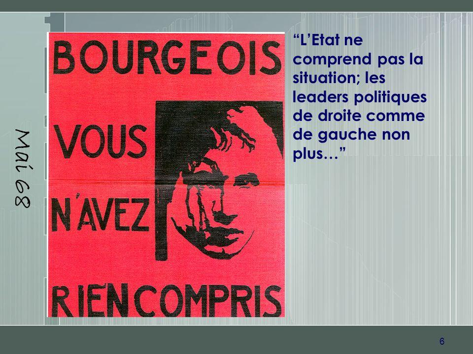 6 Mai 68 LEtat ne comprend pas la situation; les leaders politiques de droite comme de gauche non plus…