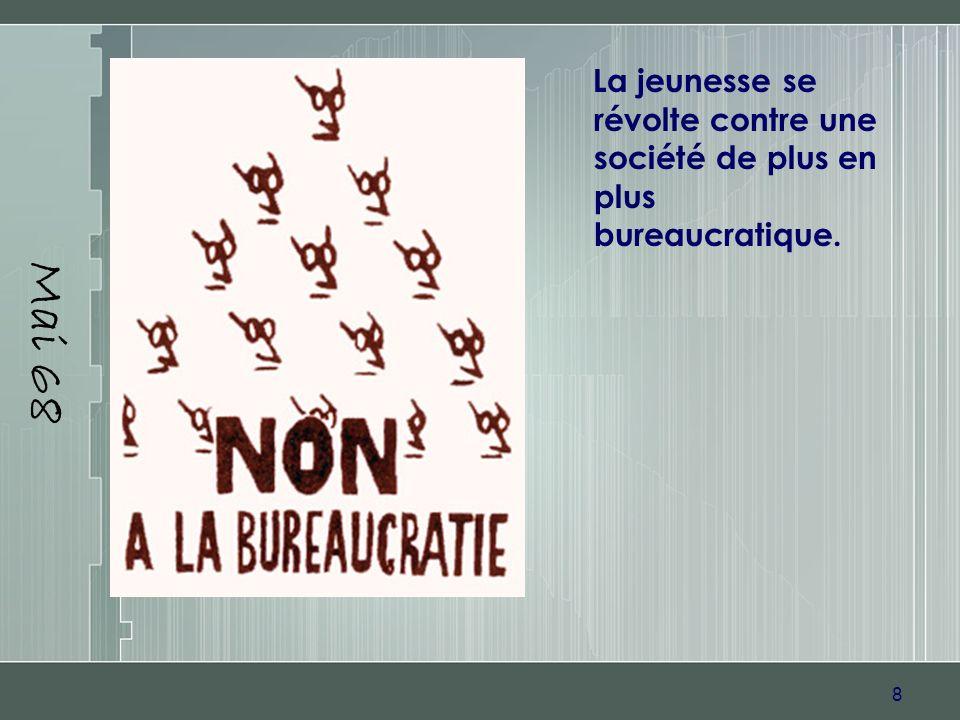 8 Mai 68 La jeunesse se révolte contre une société de plus en plus bureaucratique.