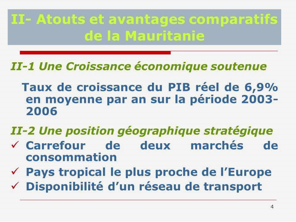 4 II- Atouts et avantages comparatifs de la Mauritanie II-1 Une Croissance économique soutenue Taux de croissance du PIB réel de 6,9% en moyenne par an sur la période 2003- 2006 II-2 Une position géographique stratégique Carrefour de deux marchés de consommation Pays tropical le plus proche de lEurope Disponibilité dun réseau de transport