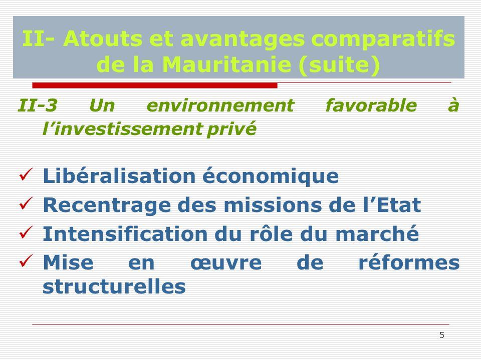 5 II- Atouts et avantages comparatifs de la Mauritanie (suite) II-3 Un environnement favorable à linvestissement privé Libéralisation économique Recentrage des missions de lEtat Intensification du rôle du marché Mise en œuvre de réformes structurelles