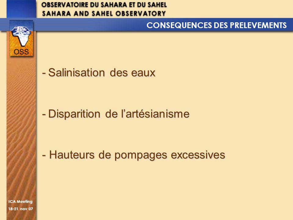 ICA Meeting 18-21 nov 07 CONSEQUENCES DES PRELEVEMENTS -Salinisation des eaux -Disparition de lartésianisme -Disparition de lartésianisme - Hauteurs d