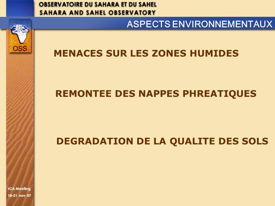 ICA Meeting 18-21 nov 07 REMONTEE DES NAPPES PHREATIQUES ASPECTS ENVIRONNEMENTAUX MENACES SUR LES ZONES HUMIDES DEGRADATION DE LA QUALITE DES SOLS