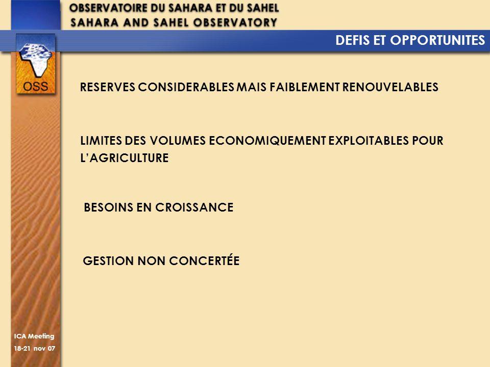 ICA Meeting 18-21 nov 07 DEFIS ET OPPORTUNITES GESTION NON CONCERTÉE RESERVES CONSIDERABLES MAIS FAIBLEMENT RENOUVELABLES LIMITES DES VOLUMES ECONOMIQ