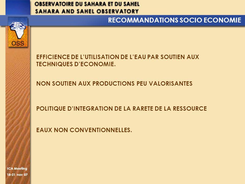 ICA Meeting 18-21 nov 07 RECOMMANDATIONS SOCIO ECONOMIE EFFICIENCE DE LUTILISATION DE LEAU PAR SOUTIEN AUX TECHNIQUES DECONOMIE. NON SOUTIEN AUX PRODU