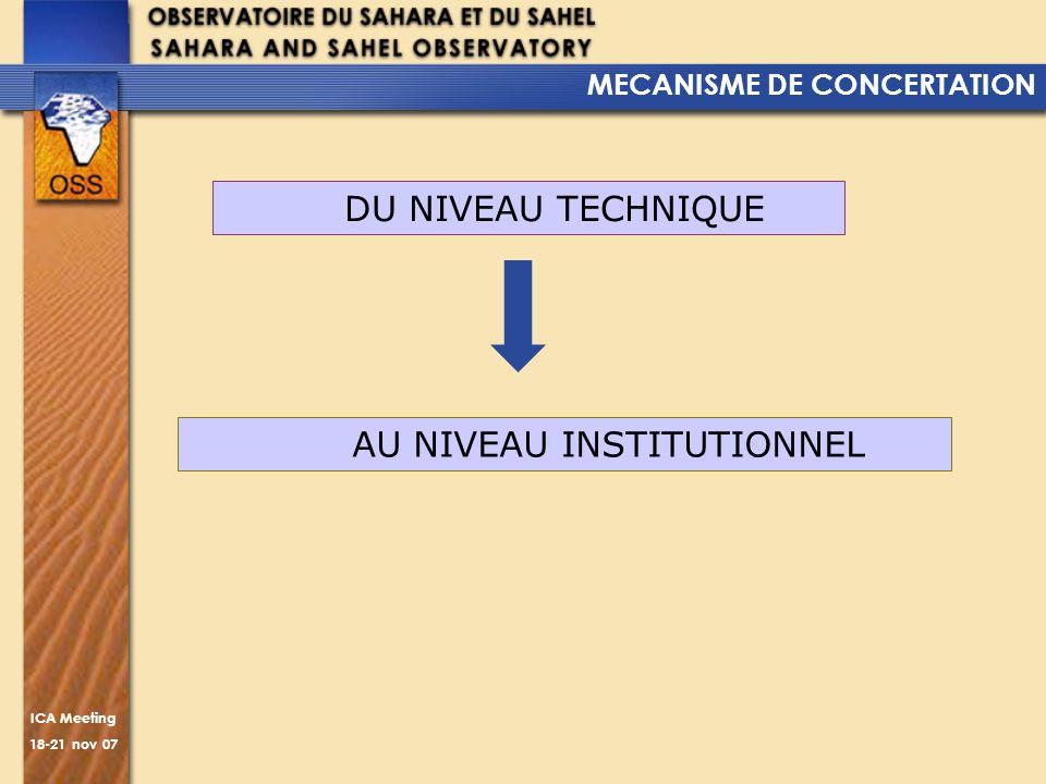 ICA Meeting 18-21 nov 07 DU NIVEAU TECHNIQUE MECANISME DE CONCERTATION AU NIVEAU INSTITUTIONNEL