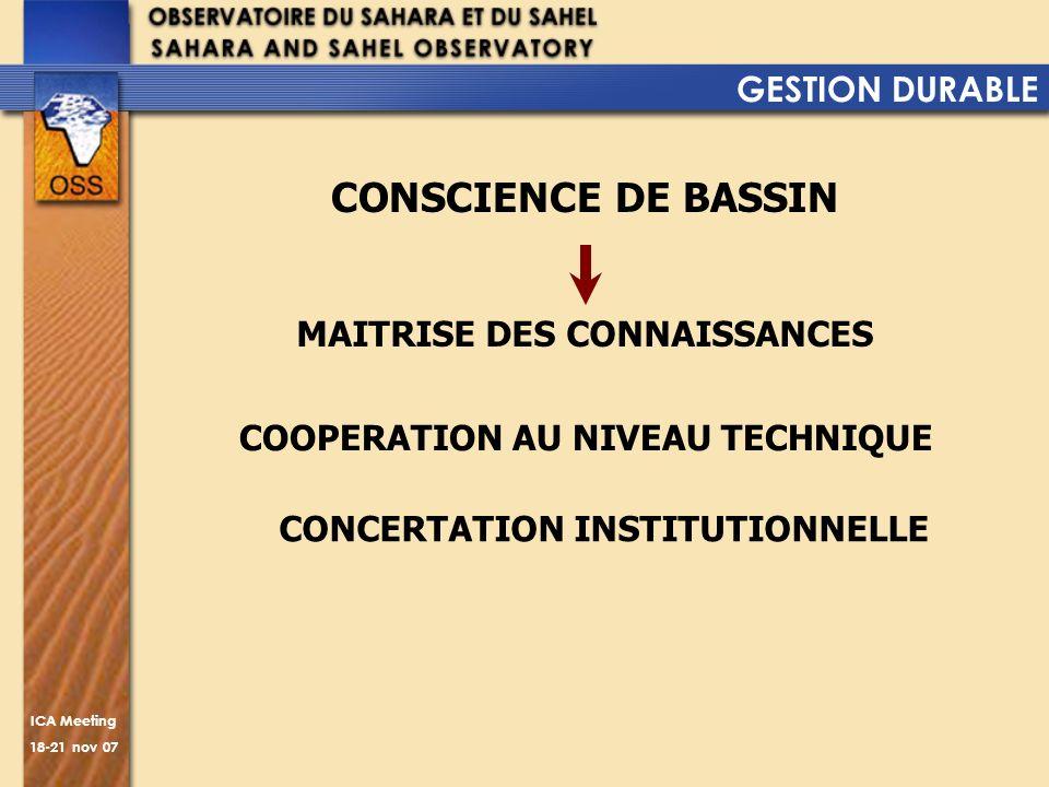 ICA Meeting 18-21 nov 07 GESTION DURABLE CONSCIENCE DE BASSIN MAITRISE DES CONNAISSANCES COOPERATION AU NIVEAU TECHNIQUE CONCERTATION INSTITUTIONNELLE