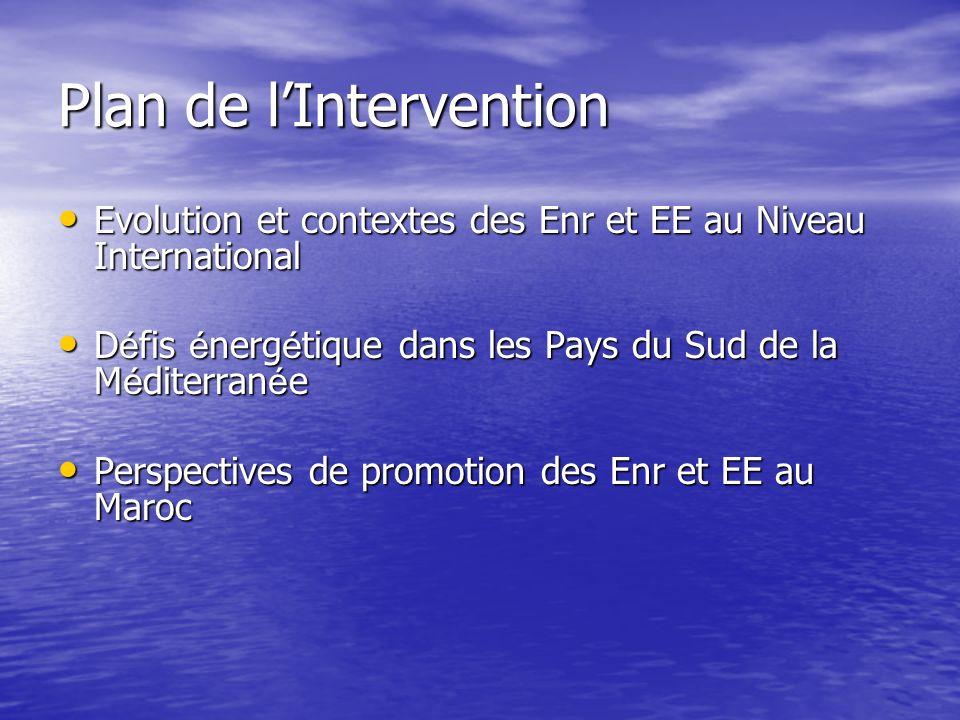Evolution et contextes des Enr et EE au Niveau International Evolution et contextes des Enr et EE au Niveau International