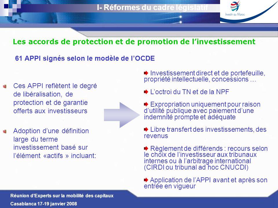 Réunion dExperts sur la mobilité des capitaux Casablanca 17-19 janvier 2008 Les accords de protection et de promotion de linvestissement 61 APPI signé