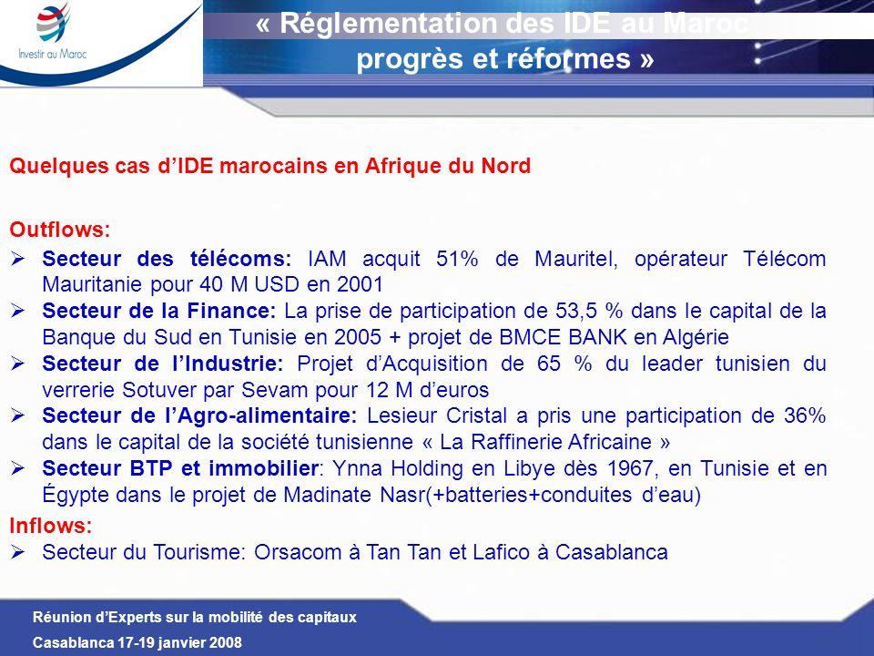 Réunion dExperts sur la mobilité des capitaux Casablanca 17-19 janvier 2008 Quelques cas dIDE marocains en Afrique du Nord Outflows: Secteur des téléc