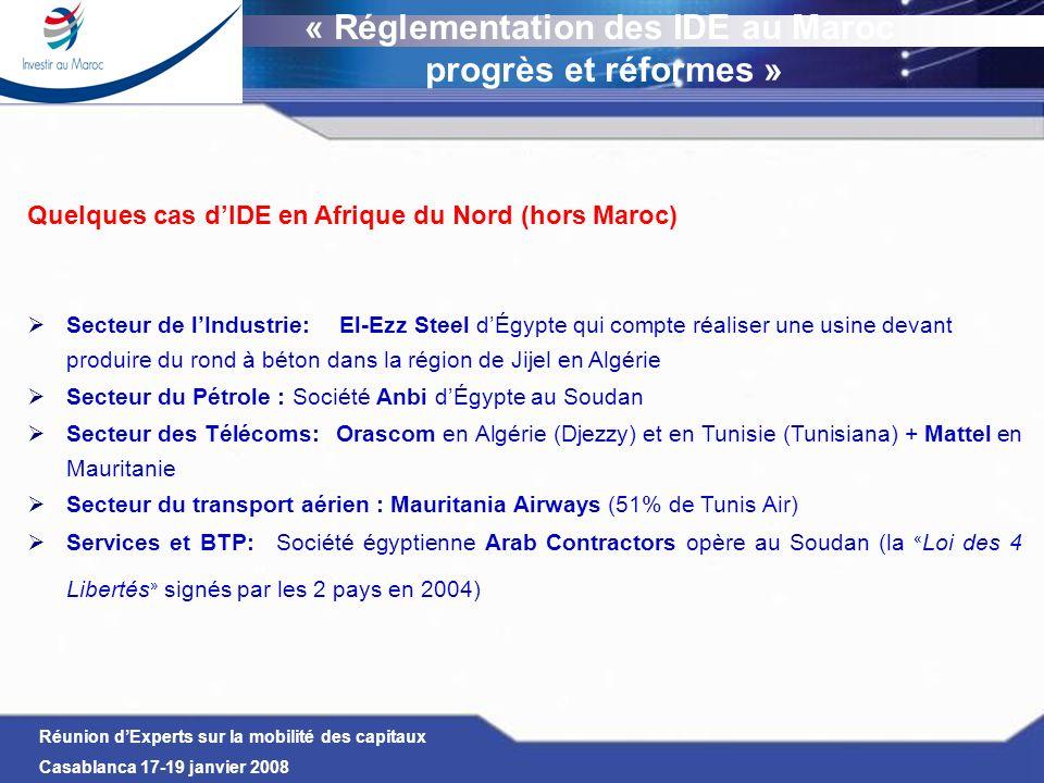 Réunion dExperts sur la mobilité des capitaux Casablanca 17-19 janvier 2008 Quelques cas dIDE en Afrique du Nord (hors Maroc) Secteur de lIndustrie: E