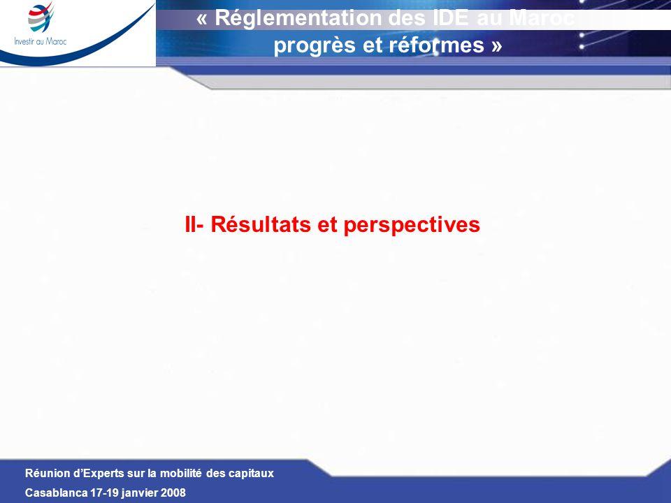 Réunion dExperts sur la mobilité des capitaux Casablanca 17-19 janvier 2008 II- Résultats et perspectives « Réglementation des IDE au Maroc progrès et