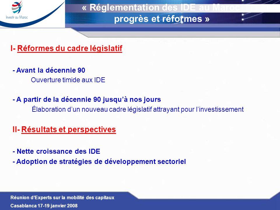 Réunion dExperts sur la mobilité des capitaux Casablanca 17-19 janvier 2008 I- Réformes du cadre législatif Constat de la décennie en cours (2000) Durant cette période : ouverture manifeste de léconomie marocaine notamment dans les domaines économiques et financiers qui lui ont permis de créer un environnement économique propice pour attirer les capitaux étrangers La Moyenne annuelle des IDE durant la décennie en cours (2000-2006) est de plus de 13 Mds de U.S $ (soit une moyenne de 2 Mds de U.S $/an, soit 4 fois la moyenne de la décennie précédente 90 et 20 fois la décennie 80) Cependant, cette performance ne doit pas masquer le fait que la hausse majeure des IDE, durant le début de la décennie 2000, est dû principalement aux opérations de privatisations (jusquà 2004)