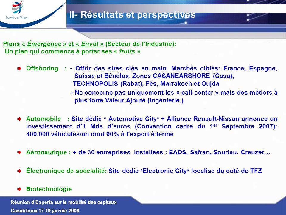 Réunion dExperts sur la mobilité des capitaux Casablanca 17-19 janvier 2008 Plans « Émergence » et « Envol » (Secteur de lIndustrie): Un plan qui comm