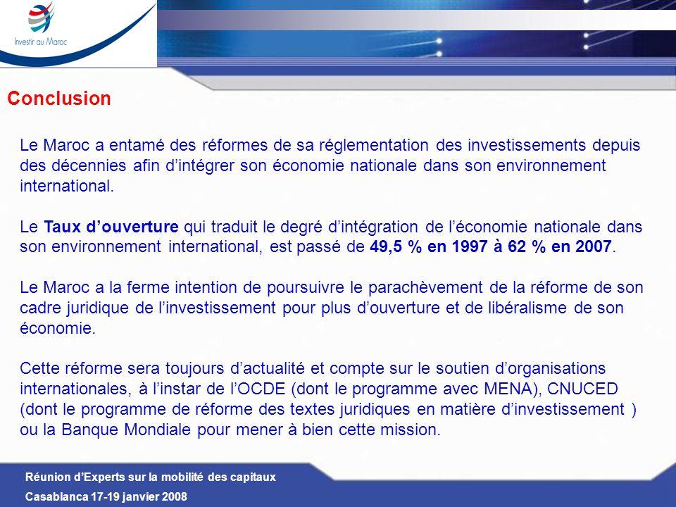 Réunion dExperts sur la mobilité des capitaux Casablanca 17-19 janvier 2008 Conclusion Le Maroc a entamé des réformes de sa réglementation des investi