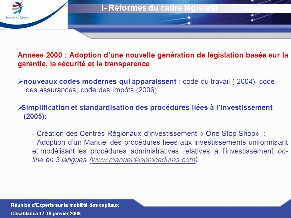 Réunion dExperts sur la mobilité des capitaux Casablanca 17-19 janvier 2008 I- Réformes du cadre législatif Des réformes de grande envergure ayant été réalisées, courant 2007, dans : le secteur bancaire : La refonte du statut de la banque centrale marocaine (Bank Al- Maghrib) pour consacrer son autonomie totale en matière de politique monétaire et renforcer ses attributions matière de supervision et de contrôle la mise en place dun cadre juridique pour certaines activités jusque-là non encadrées : - le capital-risque : adoption de la loi sur le capital risque organisant pour la première fois les activités des organismes de placement en capital risque ; - la gestion déléguée de services publics : instaurant un partenariat public-privé pour la gestion des services publics (assainissement…) Parachèvement de plusieurs chantiers en cours concernant la législation du travail