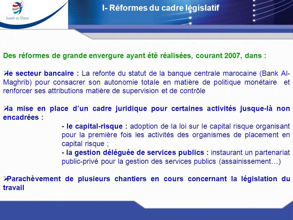 Réunion dExperts sur la mobilité des capitaux Casablanca 17-19 janvier 2008 I- Réformes du cadre législatif Des réformes de grande envergure ayant été