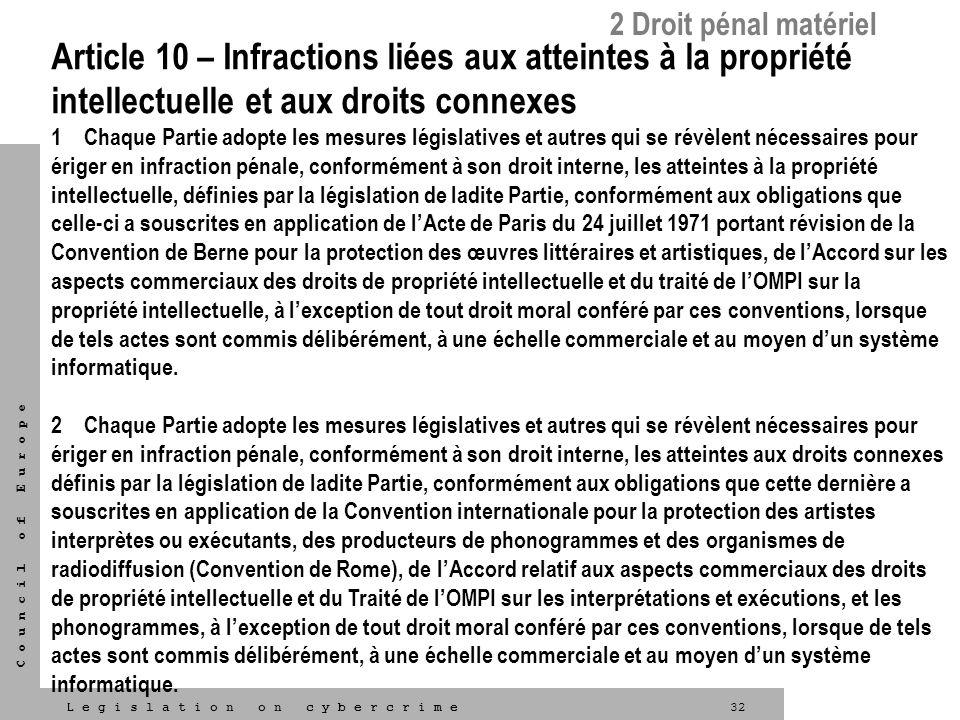 32L e g i s l a t i o n o n c y b e r c r i m e C o u n c i l o f E u r o p e Article 10 – Infractions liées aux atteintes à la propriété intellectuel