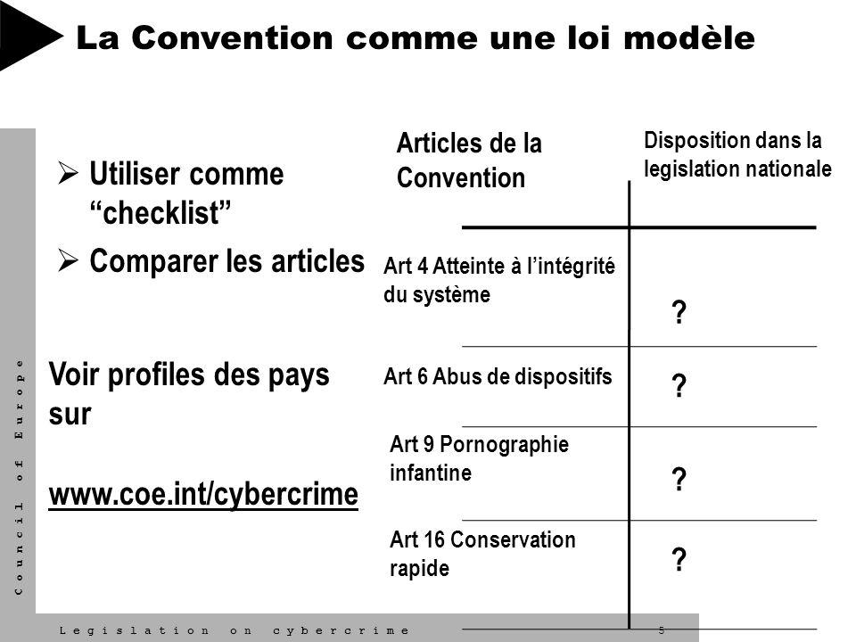 5L e g i s l a t i o n o n c y b e r c r i m e C o u n c i l o f E u r o p e Utiliser comme checklist Comparer les articles Articles de la Convention