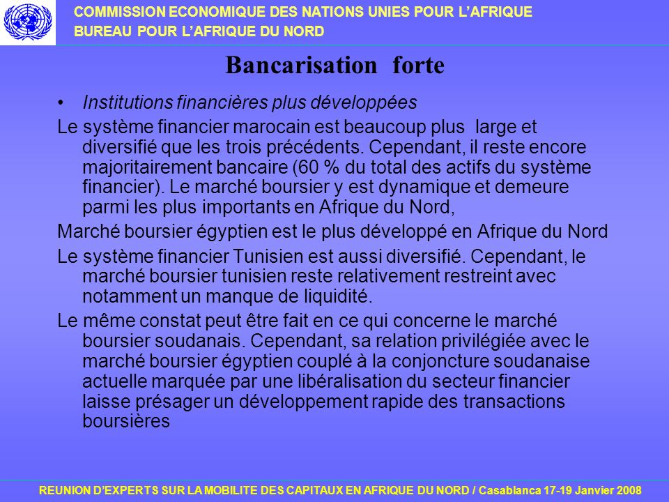 COMMISSION ECONOMIQUE DES NATIONS UNIES POUR LAFRIQUE BUREAU POUR LAFRIQUE DU NORD REUNION DEXPERTS SUR LA MOBILITE DES CAPITAUX EN AFRIQUE DU NORD / Casablanca 17-19 Janvier 2008 Bancarisation forte Institutions financières plus développées Le système financier marocain est beaucoup plus large et diversifié que les trois précédents.