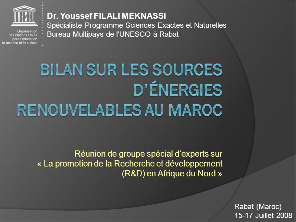 Rabat (Maroc) 15-17 Juillet 2008 Réunion de groupe spécial dexperts sur « La promotion de la Recherche et développement (R&D) en Afrique du Nord » Dr.