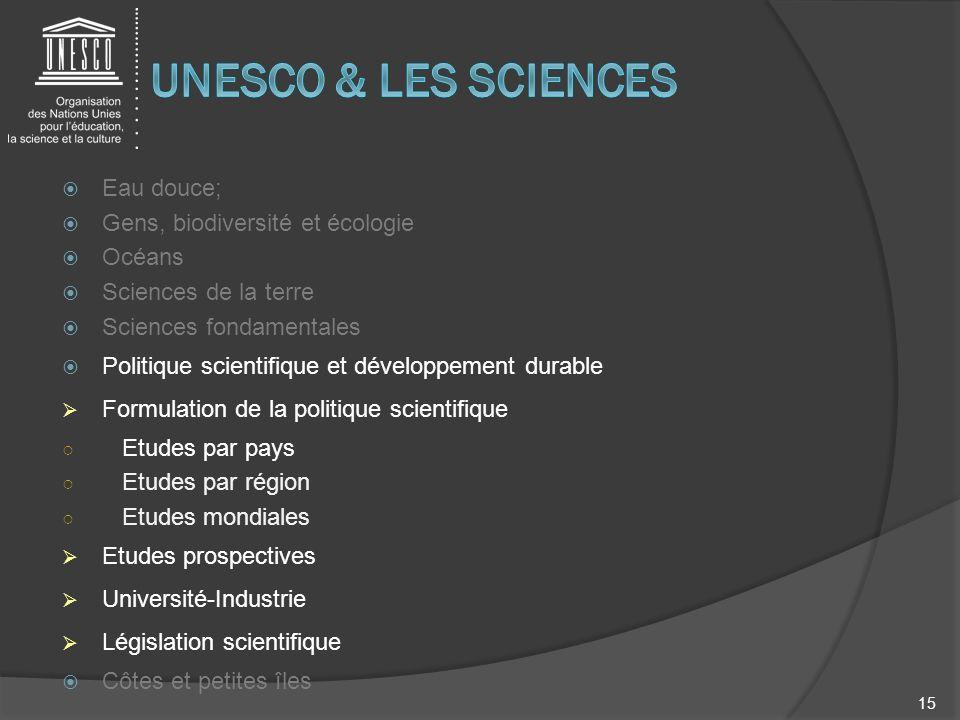 Eau douce; Gens, biodiversité et écologie Océans Sciences de la terre Sciences fondamentales Politique scientifique et développement durable Formulati