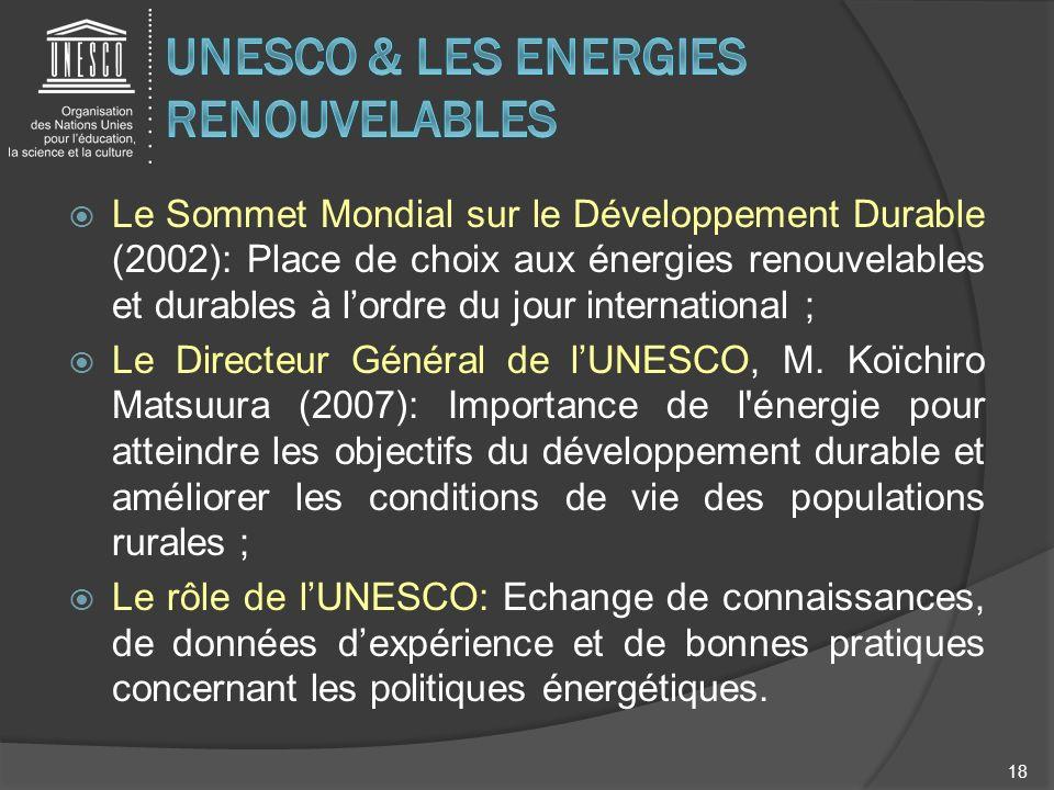Le Sommet Mondial sur le Développement Durable (2002): Place de choix aux énergies renouvelables et durables à lordre du jour international ; Le Direc