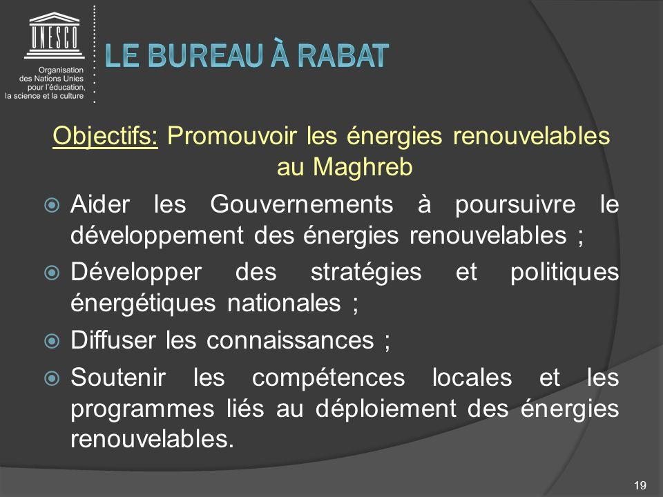 Objectifs: Promouvoir les énergies renouvelables au Maghreb Aider les Gouvernements à poursuivre le développement des énergies renouvelables ; Dévelop