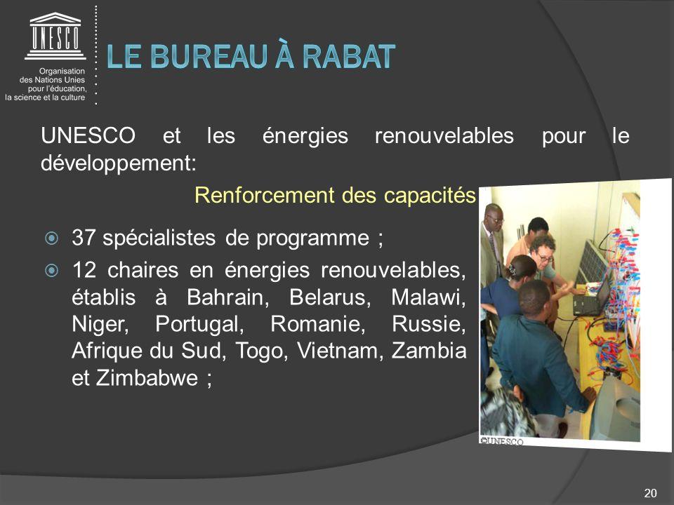 UNESCO et les énergies renouvelables pour le développement: Renforcement des capacités 20 37 spécialistes de programme ; 12 chaires en énergies renouv