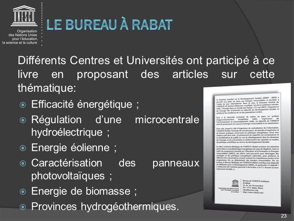 Différents Centres et Universités ont participé à ce livre en proposant des articles sur cette thématique: 23 Efficacité énergétique ; Régulation dune