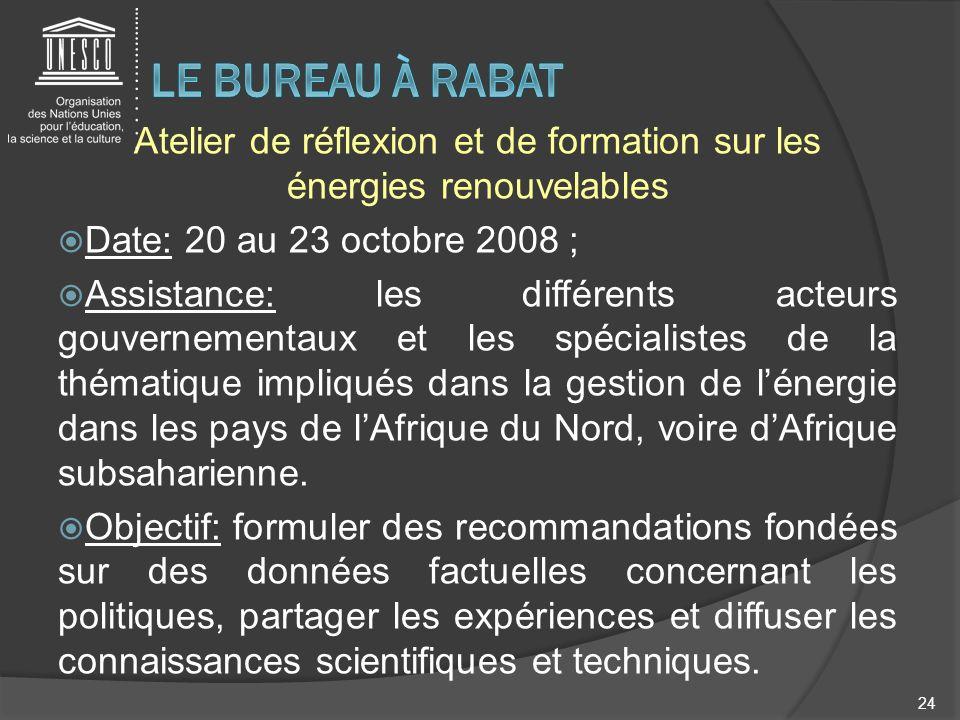 Atelier de réflexion et de formation sur les énergies renouvelables Date: 20 au 23 octobre 2008 ; Assistance: les différents acteurs gouvernementaux e