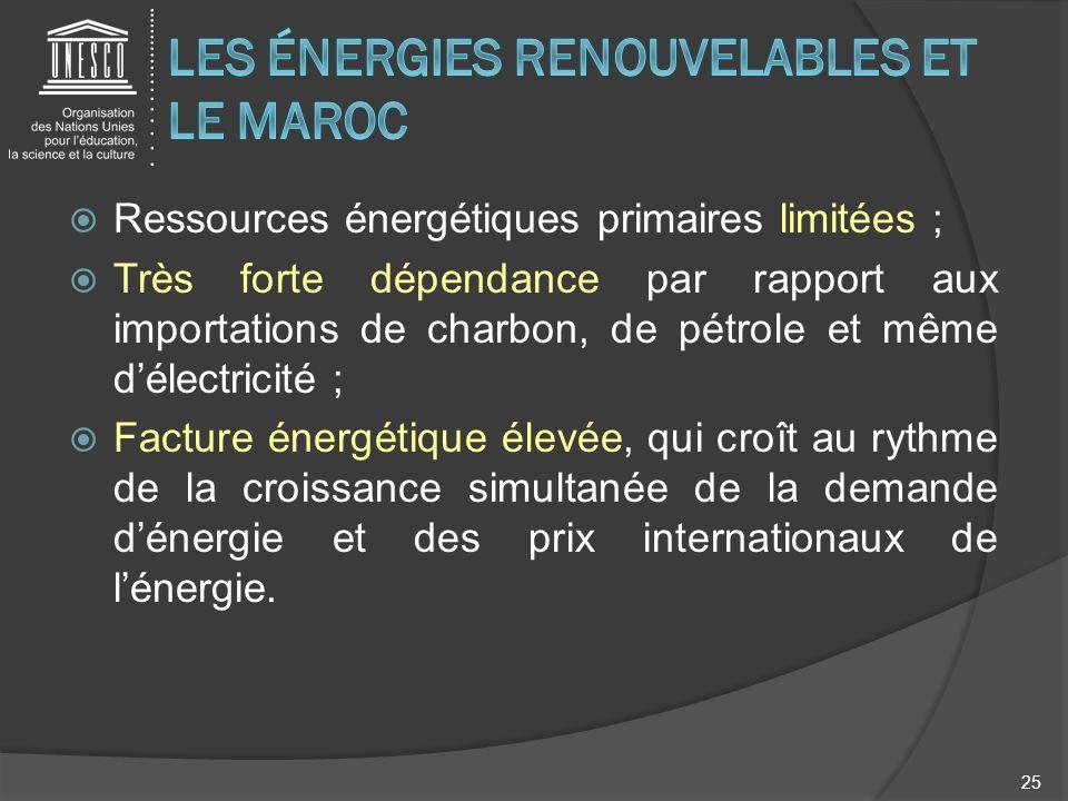 Ressources énergétiques primaires limitées ; Très forte dépendance par rapport aux importations de charbon, de pétrole et même délectricité ; Facture