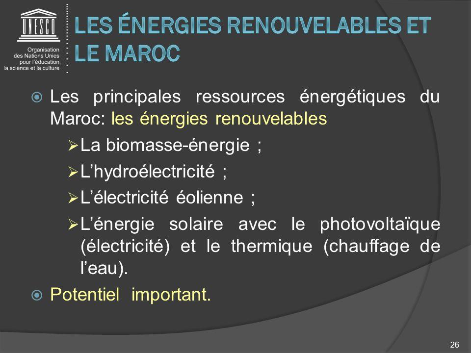 Les principales ressources énergétiques du Maroc: les énergies renouvelables La biomasse-énergie ; Lhydroélectricité ; Lélectricité éolienne ; Lénergi